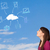 casual girl looking at cloud computing concept on blue sky stock photo © ra2studio