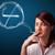 Young lady smoking unhealthy cigarette with no smoking sign stock photo © ra2studio
