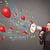 jovem · megafone · balões · confete - foto stock © ra2studio