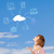 casual · nina · mirando · cielo · azul · joven - foto stock © ra2studio