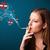 jonge · vrouw · roken · gevaarlijk · sigaret · borden - stockfoto © ra2studio