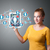 jonge · vrouw · tablet · iconen · mooie - stockfoto © ra2studio