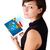 jonge · vrouw · naar · moderne · tablet · kleurrijk · diagrammen - stockfoto © ra2studio