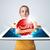 vrouw · tablet · Rood · kwaliteit · label - stockfoto © ra2studio