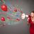 genç · kız · megafon · balonlar · konfeti - stok fotoğraf © ra2studio