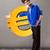good looking boy holding a big 3d gold euro sign stock photo © ra2studio