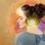 genç · kadın · kulaklık · güzel · boyalı · duvar - stok fotoğraf © ra2studio