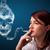 jonge · vrouw · roken · gevaarlijk · sigaret · giftig · schedel - stockfoto © ra2studio