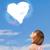 sevimli · kız · bakıyor · beyaz · kalp · bulut - stok fotoğraf © ra2studio