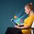 jonge · zakenvrouw · naar · moderne · tablet · abstract - stockfoto © ra2studio