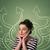 bela · mulher · pontos · de · interrogação · acima · cabeça · mulher - foto stock © ra2studio