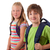 portrait of happy kids over isolated background stock photo © ra2studio