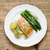 grilled salmon with boiled potatoes and asparagus top view stock photo © rafalstachura