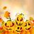 vektor · halloween · tökök · arc · levél · háttér - stock fotó © RamonaKaulitzki