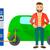 voiture · électrique · homme · vecteur · design · illustration · isolé - photo stock © rastudio
