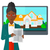 agente · immobiliare · offrendo · casa · femminile · piedi - foto d'archivio © rastudio