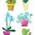 ваза · цветочный · горшок · изолированный · вектора · зеленый · желтый - Сток-фото © rastudio