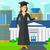 diplomás · mutat · hüvelykujj · felfelé · felirat · nő - stock fotó © rastudio