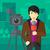 nouvelles · journaliste · travail · ville · jeunes · dessin - photo stock © rastudio