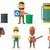 wektora · zestaw · ekologia · pracownika · śmieci - zdjęcia stock © rastudio