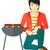 szakács · barbecue · férfi · kutya · boldog · nap - stock fotó © rastudio