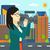 camerawoman with video camera stock photo © rastudio