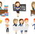 vector set of student and teachers characters stock photo © rastudio