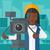 camerawoman with movie camera on a tripod stock photo © rastudio