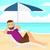 ビーチ · 傘 · 海 · 海岸 · 自然 · 風景 - ストックフォト © rastudio