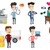 vector set of shopping people characters stock photo © rastudio