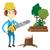 favágó · láncfűrész · tart · erdő · vektor · terv - stock fotó © rastudio