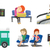 transportation vector set with people traveling stock photo © rastudio