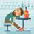 dronken · man · vallen · pub · vergadering - stockfoto © rastudio