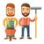 two men with wheelbarrow and rake stock photo © rastudio