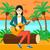 vector · mujer · jugando · guitarra · parque · banco - foto stock © rastudio