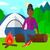 cartoon · obozu · ognia · drewna · projektu · kolor - zdjęcia stock © rastudio