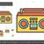 vintage boombox line icon stock photo © rastudio