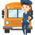 jonge · vrouwelijke · schoolbus · bestuurder · vrolijk · permanente - stockfoto © rastudio
