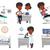 pessoas · branco · vetor · ilustrações · conjunto · cientista - foto stock © rastudio