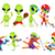 vector set of green aliens sport illustrations stock photo © rastudio