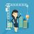 woman pointing at idea bulb hanging on crane stock photo © rastudio
