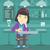 woman drinking at the bar vector illustration stock photo © rastudio