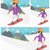 young woman snowboarding vector illustration stock photo © rastudio