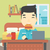 man eating hamburger vector illustration stock photo © rastudio