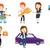 vector set of shopping people characters stock photo © rastudio