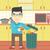 man throwing junk food vector illustration stock photo © rastudio