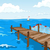 cartoon background of blue sea with pier stock photo © rastudio