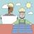 trabajador · de · la · construcción · planos · vector · trabajador · ilustración - foto stock © rastudio
