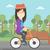 woman riding bicycle vector illustration stock photo © rastudio
