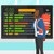 woman looking at schedule board stock photo © rastudio